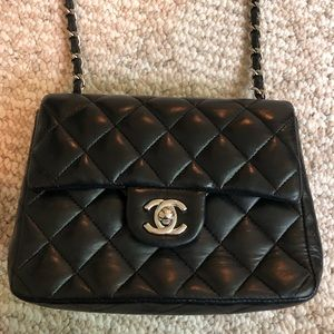 Chanel mini flap bag with silver hardware